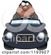 Cartoon Of A Mad Chubby Black Businessman Driving A Convertible Car Royalty Free Vector Clipart