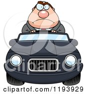 Cartoon Of A Mad Chubby Commuting Businessman Driving A Convertible Car Royalty Free Vector Clipart