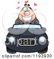Cartoon Of A Loving Chubby Commuting Businessman Driving A Convertible Car Royalty Free Vector Clipart