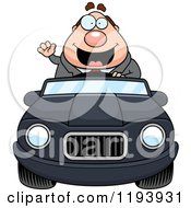 Cartoon Of A Waving Chubby Commuting Businessman Driving A Convertible Car Royalty Free Vector Clipart