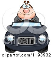 Cartoon Of A Happy Chubby Commuting Businessman Driving A Convertible Car Royalty Free Vector Clipart