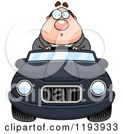 Cartoon Of A Surprised Chubby Commuting Businessman Driving A Convertible Car Royalty Free Vector Clipart