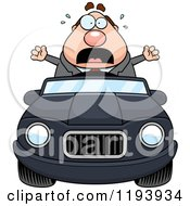Cartoon Of A Scared Chubby Commuting Businessman Driving A Convertible Car Royalty Free Vector Clipart