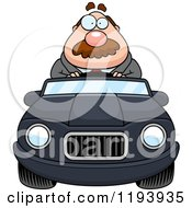 Cartoon Of A Chubby Businessman Driving A Convertible Car Royalty Free Vector Clipart
