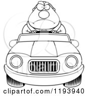 Cartoon Of A Black And White Mad Chubby Commuting Businessman Driving A Convertible Car Royalty Free Vector Clipart