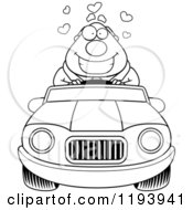 Cartoon Of A Black And White Loving Chubby Commuting Businessman Driving A Convertible Car Royalty Free Vector Clipart