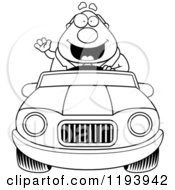 Cartoon Of A Black And White Waving Chubby Commuting Businessman Driving A Convertible Car Royalty Free Vector Clipart