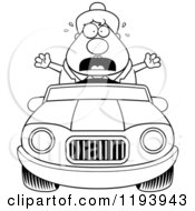 Cartoon Of A Black And White Scared Chubby Commuting Businesswoman Driving A Convertible Car Royalty Free Vector Clipart