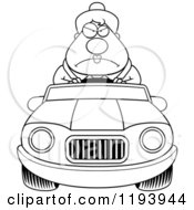 Cartoon Of A Black And White Mad Chubby Commuting Businesswoman Driving A Convertible Car Royalty Free Vector Clipart by Cory Thoman