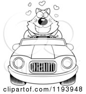 Cartoon Of A Black And White Loving Chubby Business Cat Driving A Convertible Car Royalty Free Vector Clipart