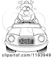 Cartoon Of A Black And White Loving Chubby Commuting Businesswoman Driving A Convertible Car Royalty Free Vector Clipart