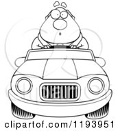 Cartoon Of A Black And White Surprised Chubby Commuting Businessman Driving A Convertible Car Royalty Free Vector Clipart