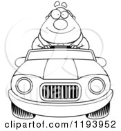 Cartoon Of A Black And White Happy Chubby Commuting Businessman Driving A Convertible Car Royalty Free Vector Clipart