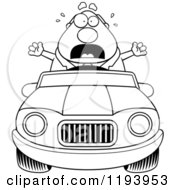 Cartoon Of A Black And White Scared Chubby Commuting Businessman Driving A Convertible Car Royalty Free Vector Clipart