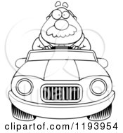 Cartoon Of A Black And White Chubby Businessman Driving A Convertible Car Royalty Free Vector Clipart
