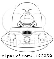 Cartoon Of A Black And White Mad Chubby Alien Flying A Ufo Royalty Free Vector Clipart
