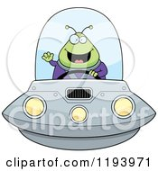Cartoon Of A Happy Waving Chubby Alien And Flying A Ufo Royalty Free Vector Clipart