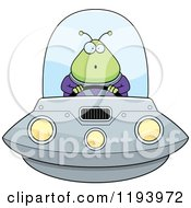 Cartoon Of A Surprised Chubby Alien Flying A Ufo Royalty Free Vector Clipart