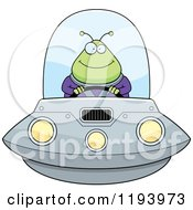 Cartoon Of A Happy Chubby Alien Flying A Ufo Royalty Free Vector Clipart