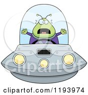 Cartoon Of A Scared Chubby Alien Flying A Ufo Royalty Free Vector Clipart