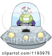 Cartoon Of A Loving Chubby Alien Flying A Ufo Royalty Free Vector Clipart