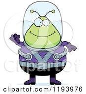 Cartoon Of A Happy Waving Chubby Alien Royalty Free Vector Clipart