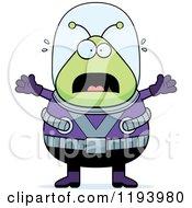 Cartoon Of A Scared Chubby Alien Royalty Free Vector Clipart