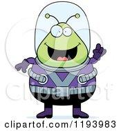 Cartoon Of A Smart Chubby Alien With An Idea Royalty Free Vector Clipart