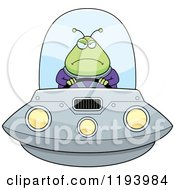 Cartoon Of A Mad Chubby Alien Flying A Ufo Royalty Free Vector Clipart by Cory Thoman