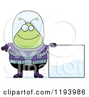 Cartoon Of A Happy Chubby Alien Standing By A Sign Royalty Free Vector Clipart