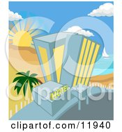 Hotel On A Tropical Beachfront Clipart Illustration by AtStockIllustration