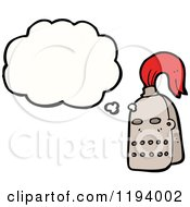 Cartoon Of A Knights Helmet Thinking Royalty Free Vector Illustration by lineartestpilot