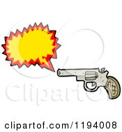 Cartoon Of A Gun Shooting Royalty Free Vector Illustration by lineartestpilot