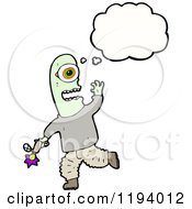 Cartoon Of A Cyclops With A Ray Gun Thinking Royalty Free Vector Illustration by lineartestpilot