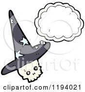 Poster, Art Print Of Thinking Skull Wearing A Witches Hat