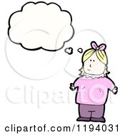 Cartoon Of A Little Girl Thinking Royalty Free Vector Illustration
