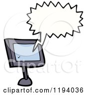Cartoon Of A Computer Minitor Speaking Royalty Free Vector Illustration by lineartestpilot