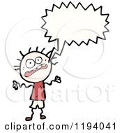 Cartoon Of A Frightened Stick Boy Speaking Royalty Free Vector Illustration