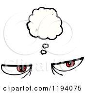Cartoon Of A Pair Of Eyes Thinking Royalty Free Vector Illustration