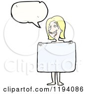 Cartoon Of A Naked Woman With A Towel Speaking Royalty Free Vector Illustration