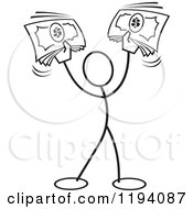 Cartoon Of A Black And White Stickler Man Holding Up Cash Money Royalty Free Vector Clipart