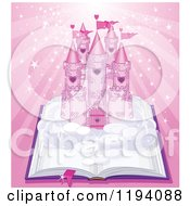 Cartoon Of A Fairy Tale Castle On An Open Book Over Magic Pink Rays Royalty Free Vector Clipart by Pushkin