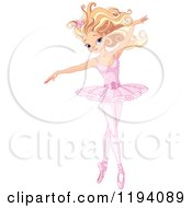 Cartoon Of A Beautiful Blond Ballerina Dancing Gracefully Royalty Free Vector Clipart
