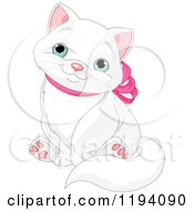 Cute White Kitty Cat Sitting And Wearing A Pink Bow