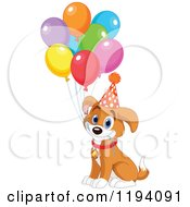 Cartoon Of A Cute Birthday Beagle Puppy Dog With Party Balloons Royalty Free Vector Clipart by Pushkin