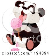 Cartoon Of A Cute Panda Licking A Strawberry Ice Cream Cone Royalty Free Vector Clipart by Pushkin