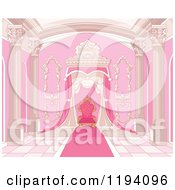 Cartoon Of A Pink Grand Interior With Columns Carpet And Throne Royalty Free Vector Clipart