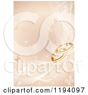 Golden Background Of Vines Butterflies And Wedding Rings With Mesh Waves
