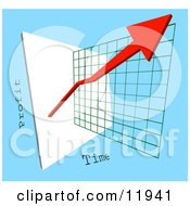Red Arrow Depicting An Increase Of Profits On A Graph Clipart Graphic