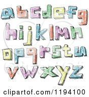 Cartoon Of Colorful Colored Sketched Lowercase Letters Royalty Free Vector Clipart